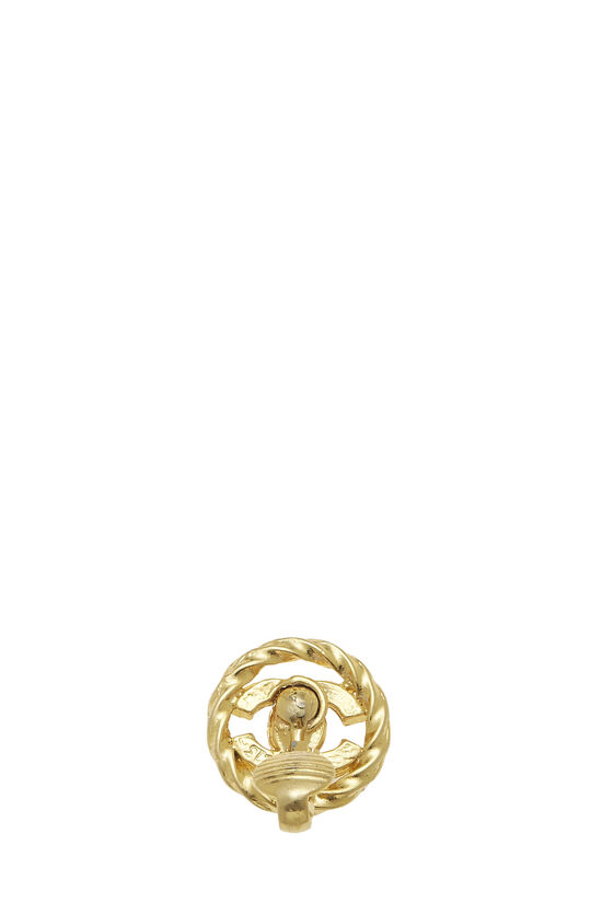 Gold & Crystal 'CC' Circle Earrings Small, , large image number 2