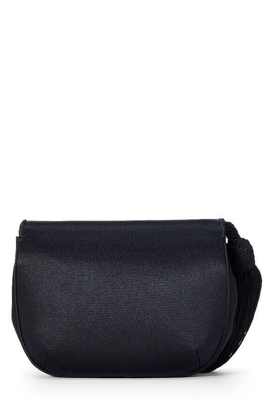 Black Satin Floral Embellished Shoulder Bag, , large image number 3
