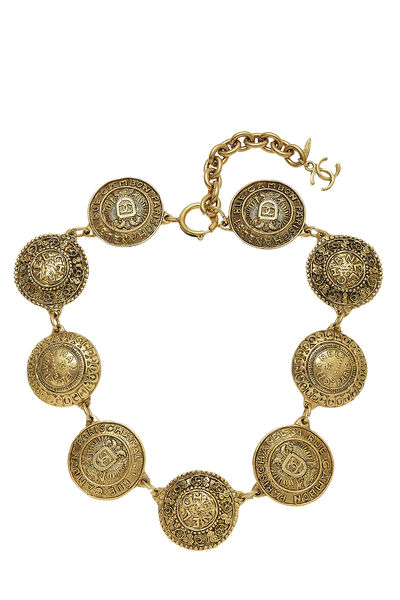 Gold Engraved Cambon Coin Choker
