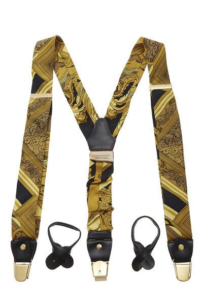 Yellow & Black Silk Motif Suspenders