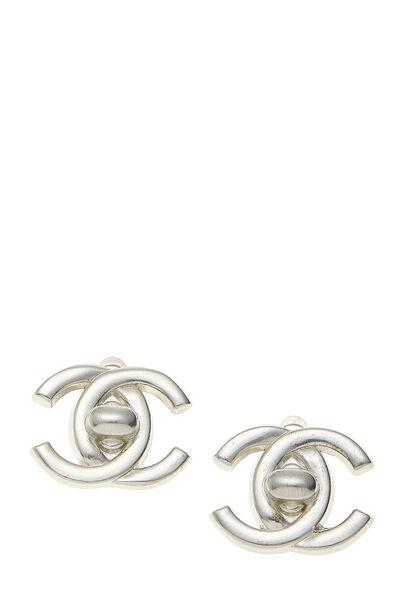 Silver 'CC' Turnlock Earrings Small