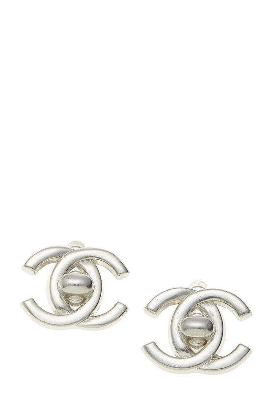 Silver 'CC' Turnlock Earrings Small, , large image number 0