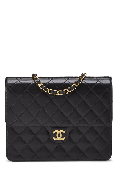 Black Quilted Lambskin Ex Flap Small