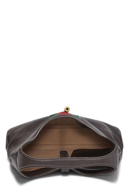Brown Leather Web Jackie Soft Hobo Large, , large image number 5