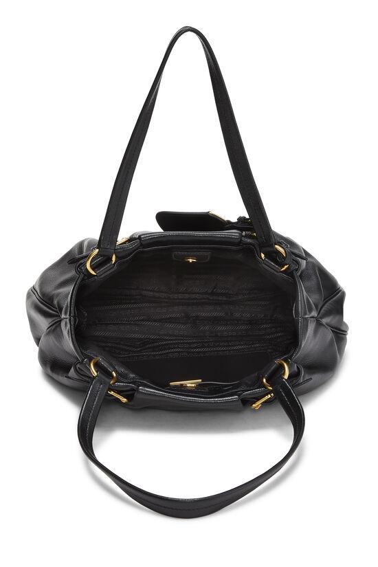 Black Leather Shoulder Bag Medium, , large image number 5