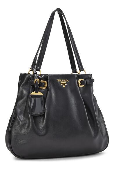 Black Leather Shoulder Bag Medium, , large