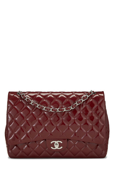 Red Quilted Patent Leather New Classic Double Flap Maxi