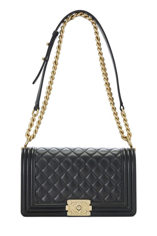 Black Quilted Lambskin Boy Bag Medium, , large image number 1