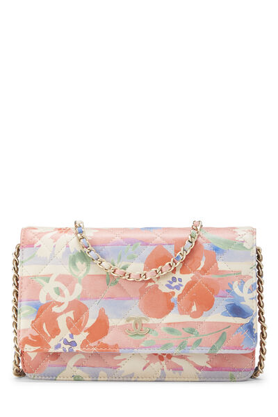Multicolor Floral Quilted Lambskin Wallet on Chain (WOC)