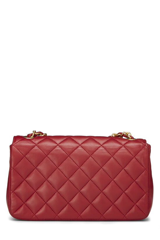 Red Quilted Lambskin Half Flap Mini, , large image number 4