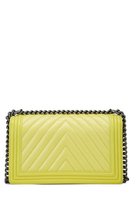 Yellow Chevron Lambskin Boy Bag Medium, , large image number 4