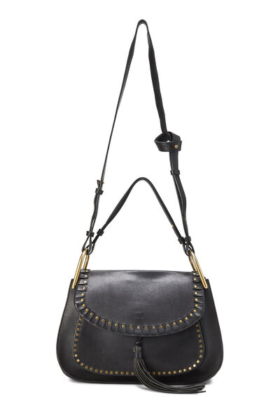 Black Leather Hudson Double Carry Shoulder Bag, , large