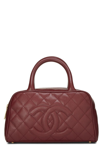 Burgundy Quilted Caviar Bowler Mini