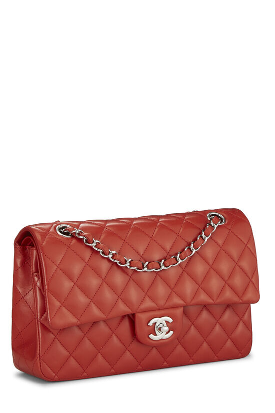 Red Quilted Lambskin Classic Double Flap Small, , large image number 1