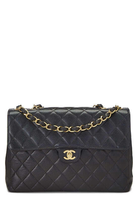 Black Quilted Caviar Half Flap Jumbo, , large image number 0