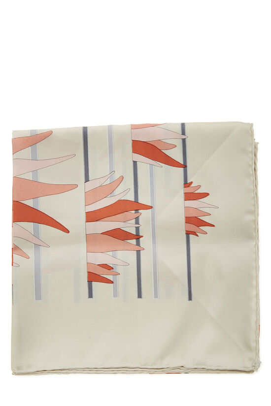 Cream & Multicolor 'Tigres Dans les Herbes' Silk Scarf 90, , large image number 1