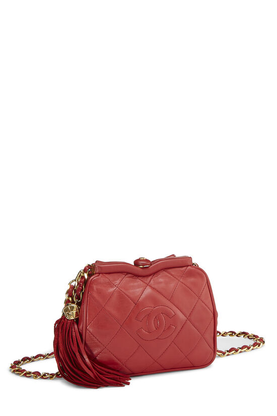 Red Quilted Lambskin Kiss Lock Belt Bag, , large image number 1