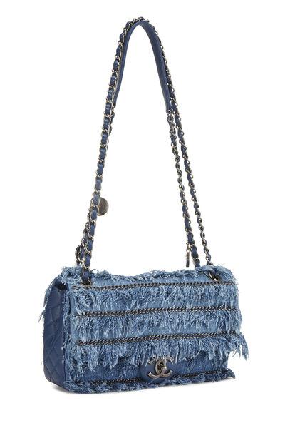 Blue Denim Fringed 'CC' Flap Bag, , large