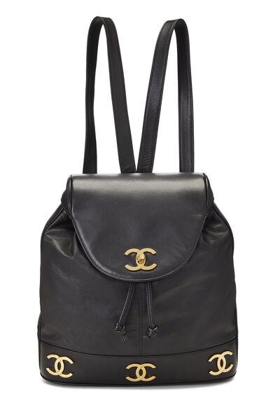 Black Lambskin 3 'CC' Backpack Large