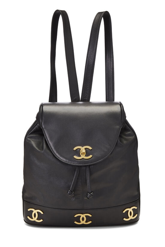 Black Lambskin 3 'CC' Backpack Large, , large image number 0