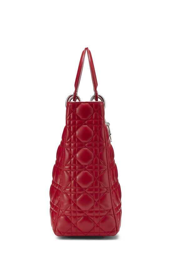 Red Cannage Quilted Lambskin Lady Dior Large, , large image number 2