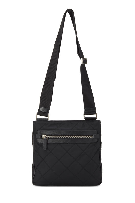 Black Quilted Nylon Flat Crossbody Small, , large image number 6