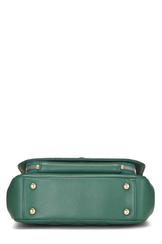 Green Quilted Caviar Business Affinity Bag Medium, , large image number 5