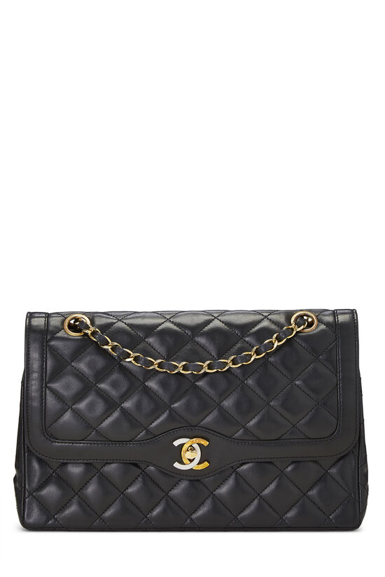 Black Quilted Lambskin Paris Limited Double Flap Medium, , large image number 0