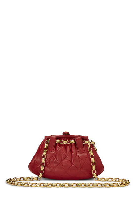Red Quilted Lambskin Kiss Lock Belt Bag, , large image number 3
