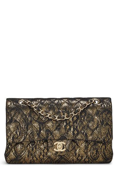 Metallic Gold Lace Classic Double Flap Medium