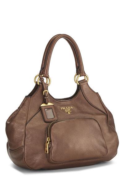 Metallic Copper Vitello Daino Handbag, , large