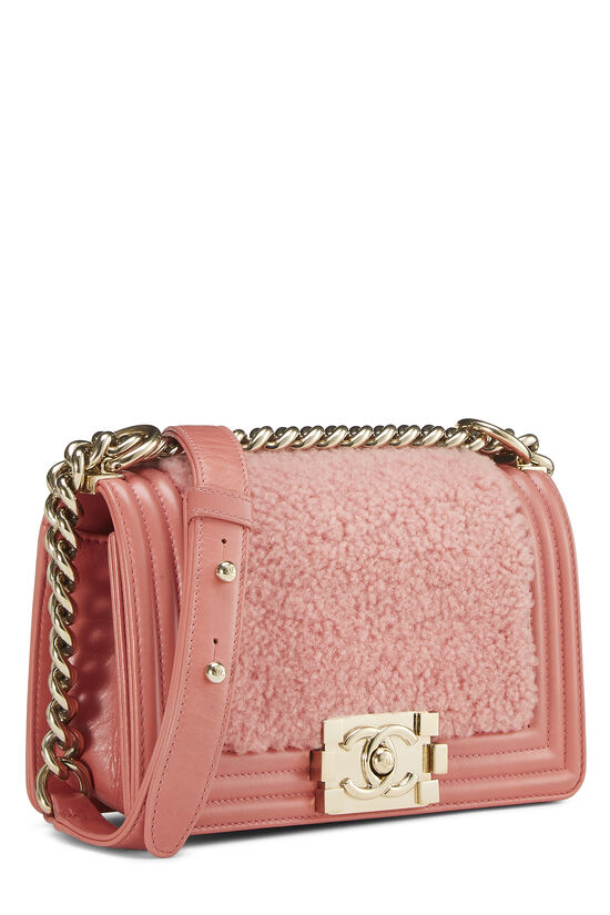 Pink Shearling Boy Bag Small, , large image number 1
