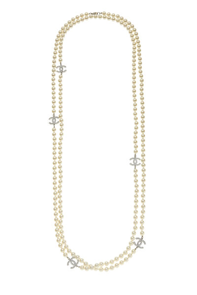 Silver Crystal 'CC' & Faux Pearl Necklace XL