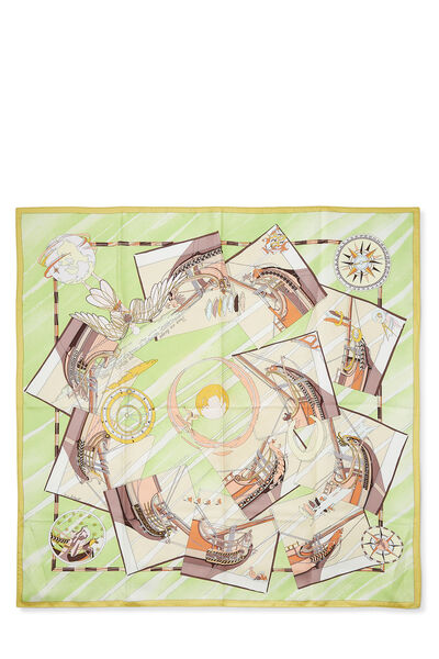 Green & Multicolor 'Face Au Large' Silk Scarf 90