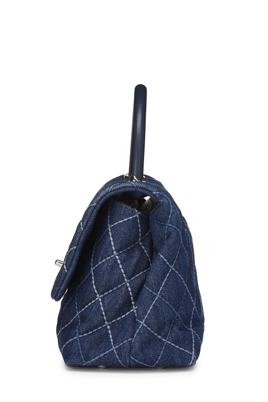 Blue Quilted Denim Coco Handle Bag Small, , large image number 3
