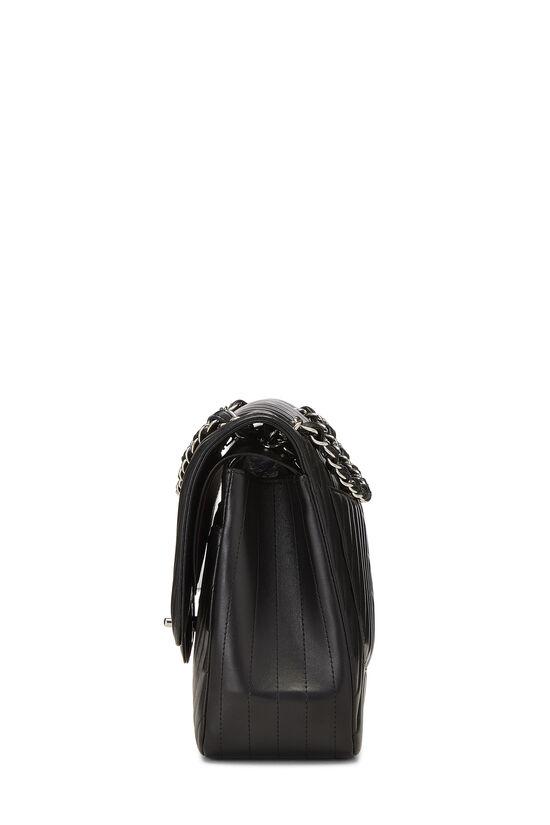 Black Chevron Lambskin New Classic Double Flap Jumbo, , large image number 2