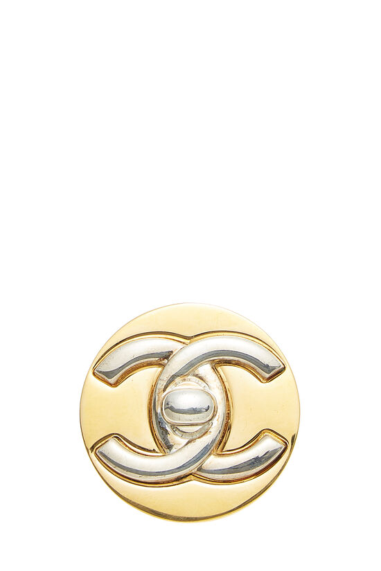 Silver & Gold 'CC' Turnlock Pin, , large image number 0