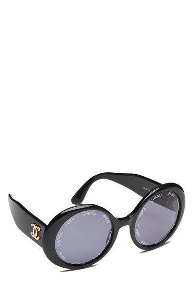 Black Acrylic Round Sunglasses, , large