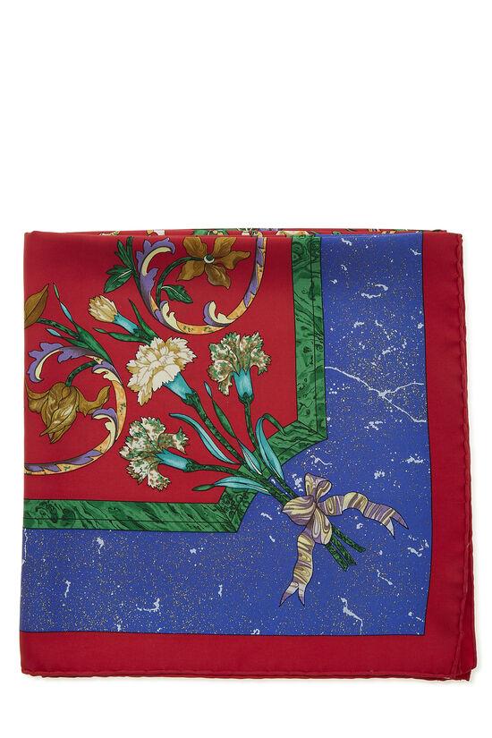 Red & Multicolor 'Pierres d'Orient et d'Occident' Silk Scarf 90, , large image number 1