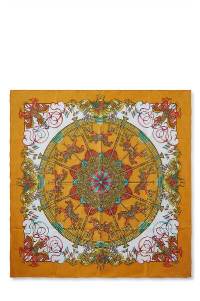 Orange & Multicolor 'Luna Park' Silk Scarf 90
