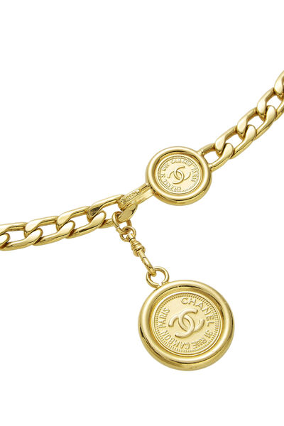 Gold 'CC' Chain Belt, , large