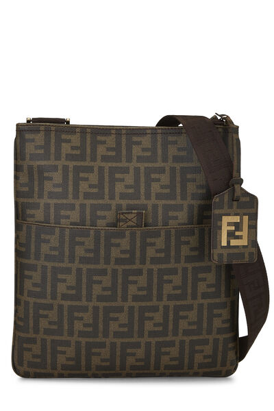 Brown Zucca Coated Canvas Flat Messenger Small