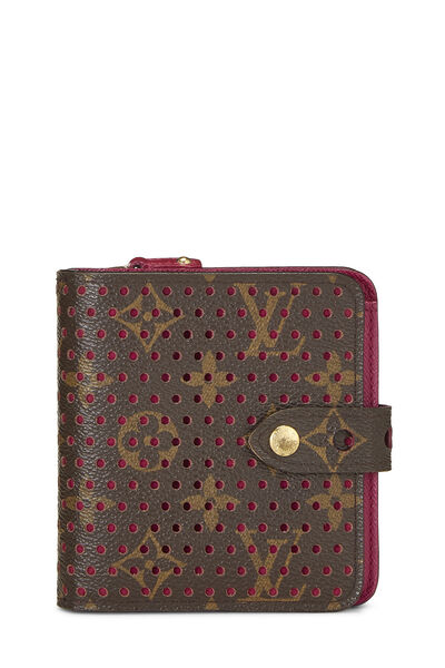 Pink Monogram Canvas Perforated Zippy Compact