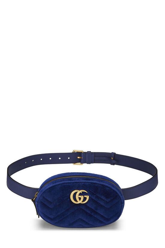 Blue Velvet GG Marmont Belt Bag Mini, , large image number 0