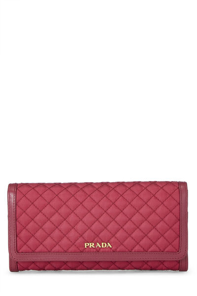 Pink Quilted Tessuto Long Wallet