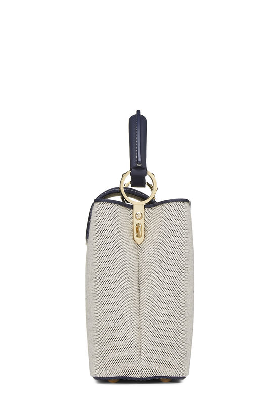 Natural Canvas & Navy Leather Capucines BB, , large image number 3