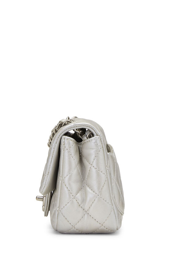 Metallic Silver Quilted Lambskin Classic Square Flap Mini, , large image number 2