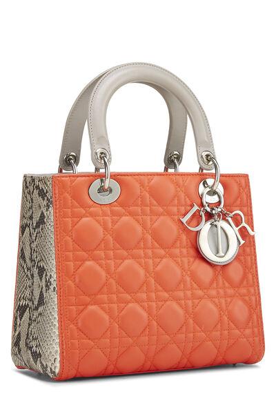 Orange Cannage Quilted Lambskin & Python Lady Dior Medium, , large