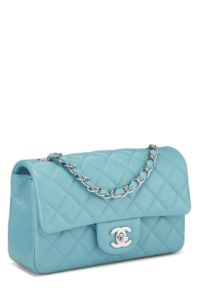 Blue Quilted Lambskin Classic Flap Mini, , large