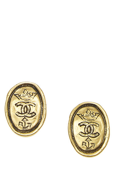 Gold Oval Crown Earrings